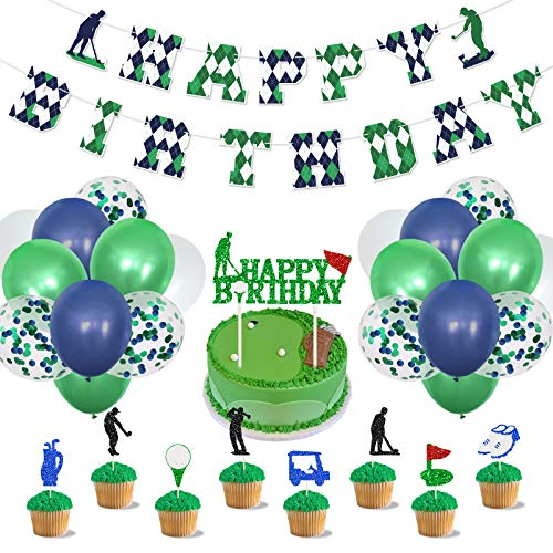 Golf Birthday Party Decorations with Cake Topper