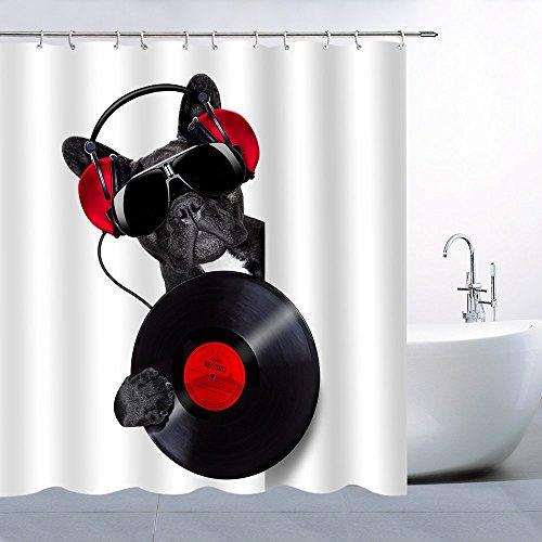 N\A Decoración de la Cortina de Ducha del Perro Mascota Precioso Cachorro Negro con Auriculares Auriculares con Reproductor de CD Cortina de baño Hipster Poliéster Impermeable