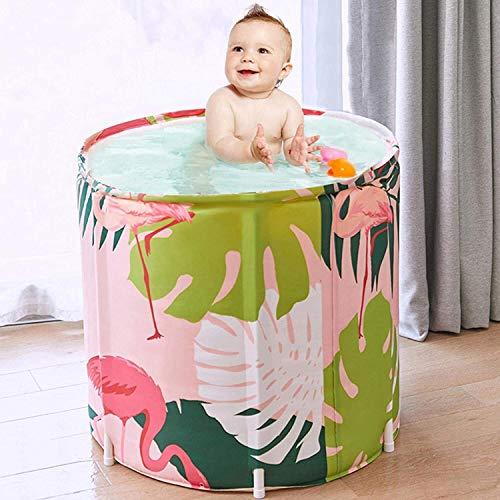 WSJTT Bañera plegable portátil de 70 cm plegable para adultos, bañera de pie, bañera portátil, bañera de hidromasaje separada, ideal para baño caliente (color: rosa)