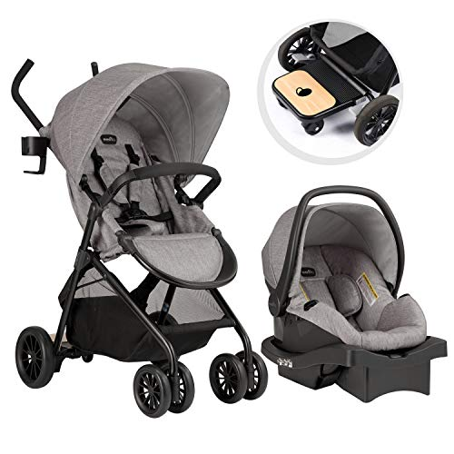 evenflo baby gears Evenflo Sibby Travel System with LiteMax 35 Infant Car Seat, Mineral Gray
