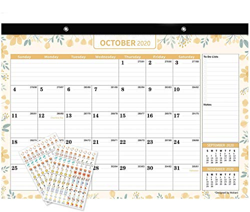 """Mokani Desk Calendar Oct. 2020 - Dec. 2021, Large Monthly Wall Calendar with Plastic Cover: 17""""x12"""", 18 Months Academic Year Desk Pad Calendars with Planner Stickers"""