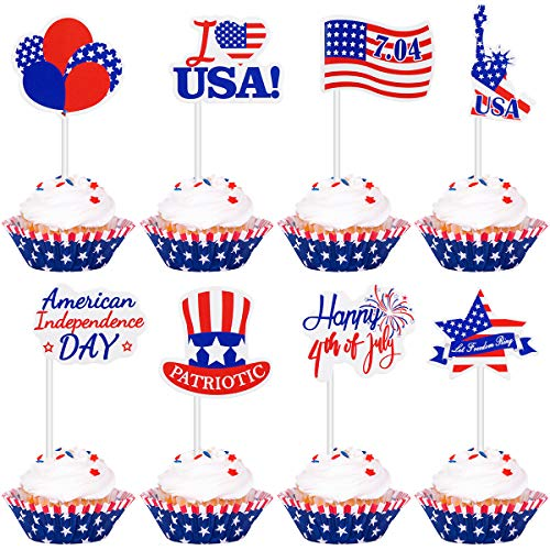 Amosfun Independence Day Cake Topper Amerikanischen Nationalfeiertag Flagge Muster Cupcake Topper. Juli Kuchen Dekoration Patriotische Partei Liefert 72 Stücke