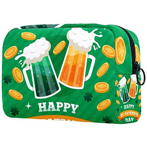 Personalisierte Make-up-Bürstentasche, tragbare Kulturtasche für Frauen, Handtasche, Kosmetik-Reiseorganizer, Becher mit Craft Beer St Patrick's Day