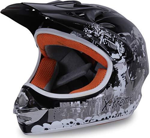 Actionbikes Motors Motorradhelm Kinder Cross Helme Sturzhelm Schutzhelm Helm für Motorrad Kinderquad und Crossbike in schwarz (X-Large)