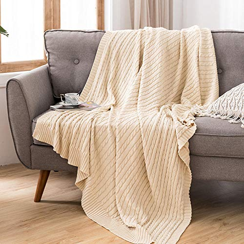 XUMINGLSJ Mantas para Sofás de Franela- Manta para Cama Reversible de 100% Microfibre Extra Suave -Beige_El 110x180cm