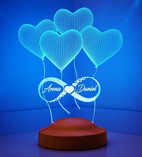 Sentidos Personalisierte Valentinstag Geschenk Unendlichkeitszeichen mit Namen zur Hochzeit Verlobung Partner Freundin Nachttischlampe Schlummerlicht