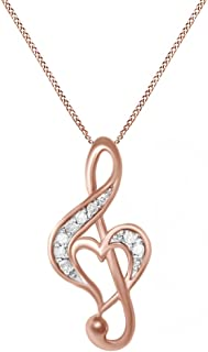 Jewel Zone US White Natural Diamond Music Note Heart Pendant Necklace in 14k Gold Over Sterling Silver (0.1 Ct)