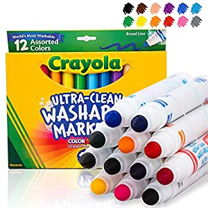 Crayola Ultra Clean Washable Markers, Broad Line, 12 Count
