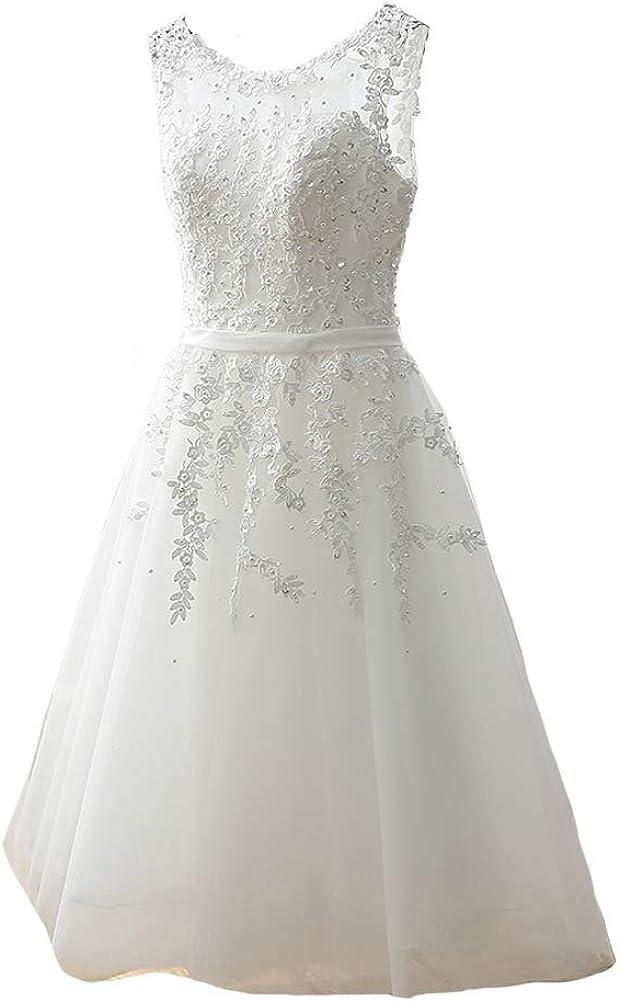 Kivary Sheer Bateau Tea Length Short Lace Pearls Prom Homecoming Party Dresses