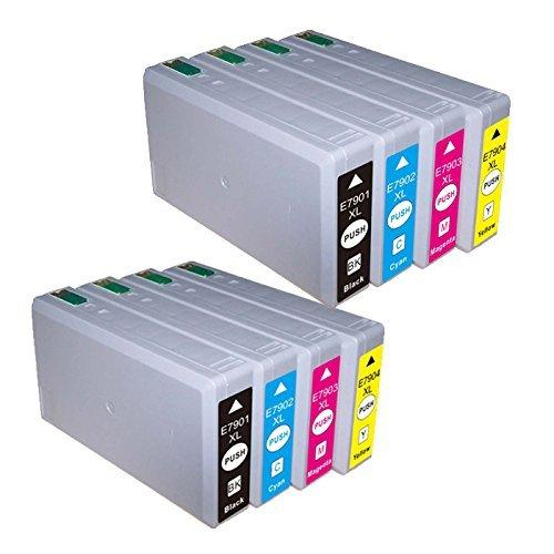 8 Cartucce d'inchiostro compatibile per Epson T7901 T7902 T7903 T7904 (2x nero + 2x ciano + 2x magenta + 2x giallo) compatibile con Epson WF-5620DWF / WF-5110DW / WF-5690DWF / WF-5190DW / WF-4630DWF / WF-4640DTWF