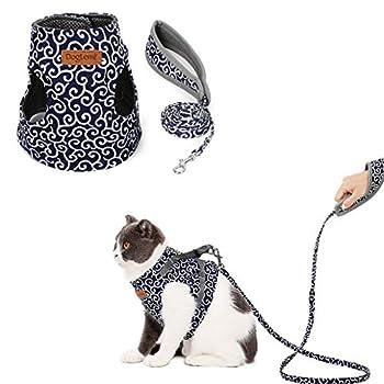 Kismaple Chaton Chats Harnais avec Laisse, Confortable Réglable Doux Mesh Respirant Harnais pour Chat Animal (XS, Bleu)