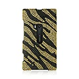 Insten Zebra Rhinestone Diamond Bling Hard Snap-in Case Cover Compatible with Nokia Lumia 920, Gold/Black