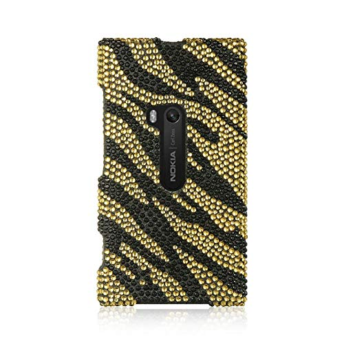 Insten Zebra Rhinestone Diamond Bling Hard Snap-in Case Cover Compatible with Nokia Lumia 920, Gold/Black