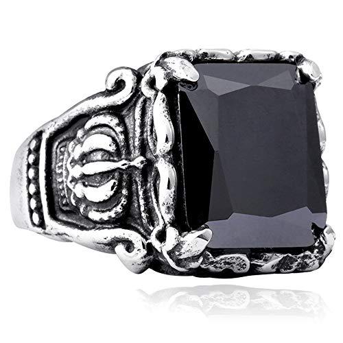Corona talla acero inoxidable vintage para hombre, circonita natural, cristales piedra, piedras preciosas, anillos, hombres y mujeres, anillo compromiso punk para parejas, regalo joyería,Black gems,7