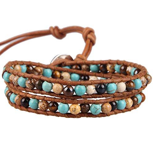 KELITCH Synthetisch Türkis Mix Perlen 2 Wicklen Armband Handmade Boho Armreifen