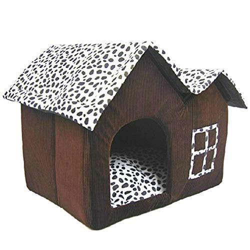 Dyujn Hundehaus Hundehöhle Katzenhaus Katzenhaus Haustier Schlafplatz, Hundehaus Stoff Fuer Kleine Hunde Katzen Hundehöhle Kuschelhöhle Bett, Hundehuette Drinnen mit Dach (Coffee)