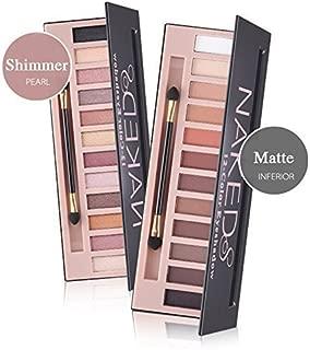 Makeup Naked Eyeshadow Palette 12 Color Natural Nude Matte Shimmer Glitter Pigment Eye Shadow Pallete Set Waterproof Smokey Professional Cosmetic Beauty Kit BESTLAND (2 PCS)