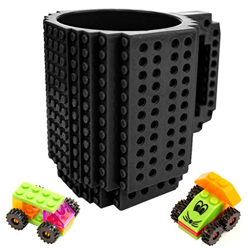 Build-On Brick Mug - 12oz Black Mug Set DIY Blocks Cup Building Toy Cup Party Supply Drinkware
