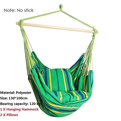 Haute Qualité Portable Hanging Hamac Intérieur Accueil Hamac Chaise Lazy Avec 2 Oreiller Voyage Camping En Plein Air Balancelle Épais Toile Hamac Confortable (Color : Green)