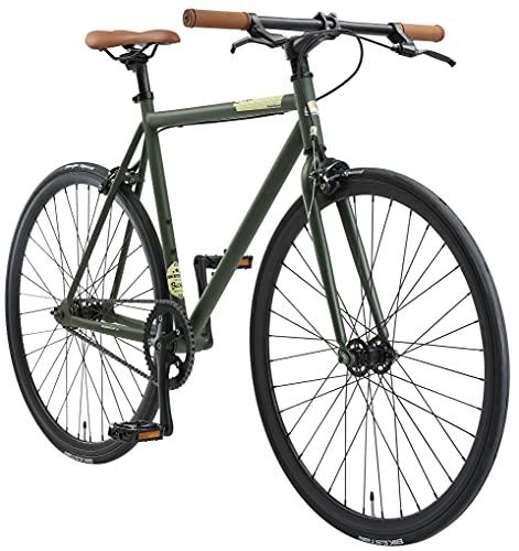 BIKESTAR Vélo de Route VTC 28 Pouces CTB | Vélo Urbain Fixie Single Speed Cadre 53 cm | Vert