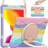 TSQ iPad 9th 8th 7th Generation Case 10.2 Inch for Kids Girls Women Cute Rainbow Pink 2021 2020 2019 | Heavy Duty Rugged Case w/Pencil Holder Stand Hand Grip Shoulder Strap for iPad 9th/8th/7th Gen