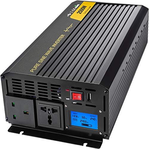 VEVOR Invertitore Onda Sinusoidale Pura, 2500W Inverter a Onda Sinusoidale Pura da DC 12V a AC 240V, Invertitore di Potenza, Invertitore Fornire Protezione Multipla con Schermo LCD e Indicatori LED