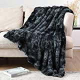 Lvylov Decorative Soft Fluffy Faux Fur Throw Blanket 50' x 60',Reversible Long Shaggy Cozy Furry Blanket,Comfy Microfiber Accent Chic Plush Fuzzy Blanket for Sofa/Couch/Bed, Washable,Black Gray