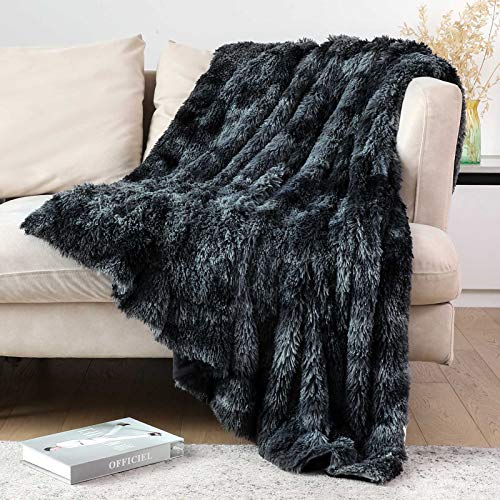 """Lvylov Decorative Soft Fluffy Faux Fur Throw Blanket 50"""" x 60"""",Reversible Long Shaggy Cozy Furry Blanket,Comfy Microfiber Accent Plush Fuzzy Blanket for Sofa/Couch/Bed,Breathable & Washable,Black Gray"""