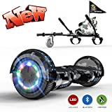 GeekMe Self Balance Scooter with Hoverkart 6.5 Inches LED Lights Bluetooth Speaker Flashing