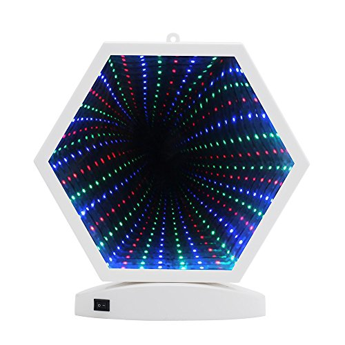 Hopolon 3D Creative Tunnel Lamp,LED Mirror Light,Battery Powered/USB Plug in Sexangle Sign Night Light for Christmas,Birthday Party,Wedding,Living Room Decor(H001-Multi Color Sexangle)