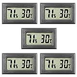 5-Pack Mini Digital Thermometer Hygrometer Meters Gauge Indoor, Large Number Display Temperature Humidity