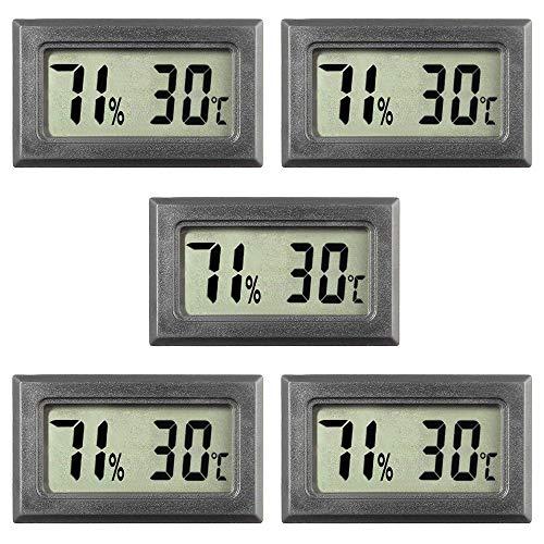 HYNNIO 5-Pack Mini Digital Thermometer Hygrometer, Large Number Display...