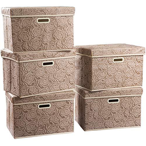 Prandom - Cestas de almacenamiento plegables grandes con tapas [paquete de 5] Caja de almacenamiento decorativa de tela, cubos...