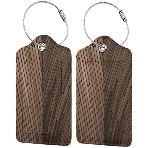 FULIYA Reisegepäck Kofferetiketten ID Tags Visitenkartenhalter 2er Set Parkett Textur Holz Oberfläche braun