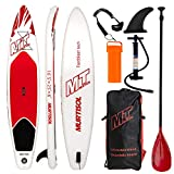 Murtisol 10'5'' Inflatable Stand Up Paddle Board(25in width) for skilled person, Ultra-thick Durable PVC, Non-Slip Deck, Extra SUP Accessories, Dual-Action Pump, Ankle Strap, Adjustable Paddle, Red