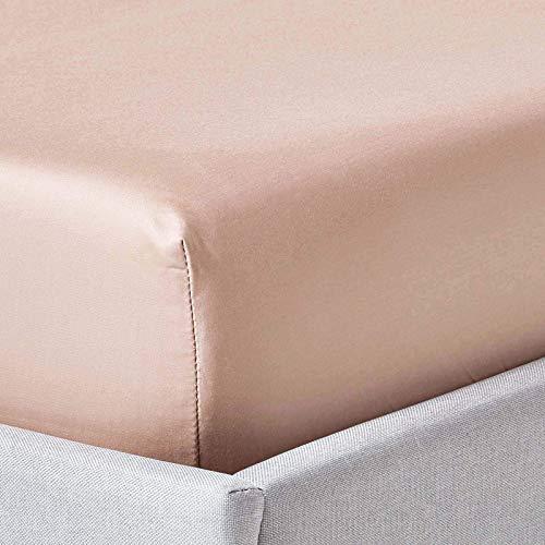 HOMESCAPES – Drap Housse Beige Taupe – 100% Coton 1000 Fils – 150 x 200 cm
