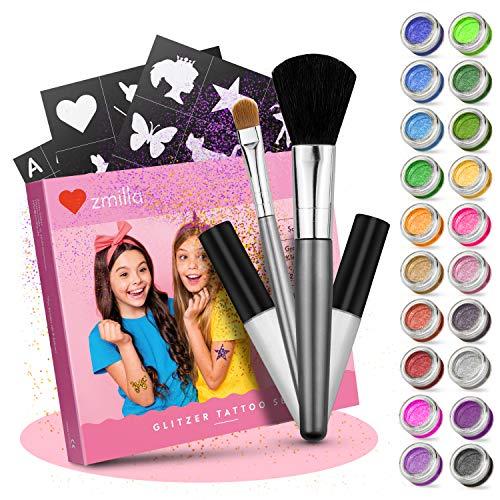 ZMILLA® Glitzer Tattoo Set Kinder (20 Farben | 100 Schablonen) Für Mädchen - Glitzertattoos inklusive 2 Pinsel & 2 Kleber
