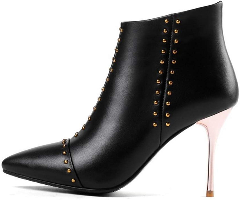 Women's Stiletto Heels Leather Cowhide Fashion Women's Boots Bare Boots 37-46,Black,37