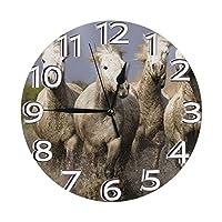 ウマ 置き時計 掛け時計 壁掛け時計 丸い時計 サイレント デジタル時計 おしゃれ 家の装飾