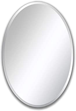 Craftter Ovel 18 X 24 inch Frame Less Mirror Bathroom Dressing and Decorative Mirror …