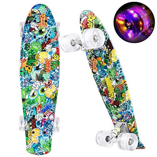 """WeSkate Mini Cruiser Skateboard Retro Komplettboard 22\"""" 55cm Vintage Skate Board mit Kunststoff Deck und blinkenden LED-Rollen Cruiser Board mit LED Leuchtrollen für Erwachsene Kinder Jungen Mädchen"""