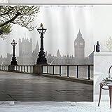 ABAKUHAUS London Duschvorhang, Westminster Tower Bridge, mit 12 Ringe Set Wasserdicht Stielvoll Modern Farbfest & Schimmel Resistent, 175x200 cm, Mehrfarbig