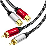 2RCA Male to 2RCA Female Cable 6 ft,Yeung Qee RCA Extension Cable Nylon Braid 2 RCA Male to 2 RCA Female Stereo Audio Extension Cable (6FT/2M)