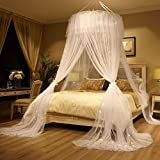 Bed Canopy Mosquito Net - Princess Elegant Lace Round Sheer Mesh Bed Curtains - Princess Canopy Dome Bedding Net for Twin Full Queen King Size (White)