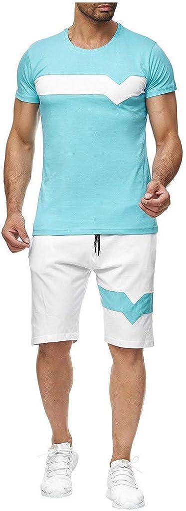 HebeTop Men's Cotton Pajama Set Short Sleeve Crew Neck Contrast Lounge Sleepwear Sets