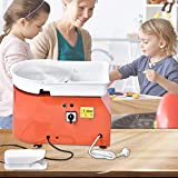 KECOP Electric Pottery Wheel Ceramic Machine 25cm Pottery Wheel Machine 350W Pottery DIY Kit with Shaping Tool Kit for Ceramic Work Ceramics (Red)