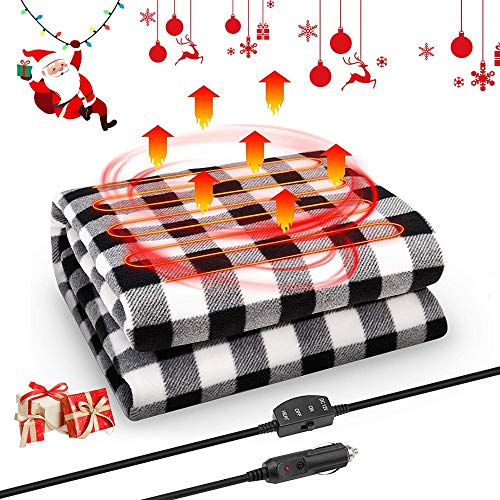 Travel Electric Heated Blanket Zip into a Pillow USB Heating Throw Blanket with 3 Heating Levels Camping Blanket Warm Plush for Airplane//Car
