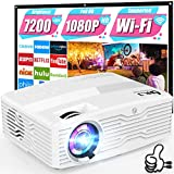 WiFi Projector [Full HD Native 1080P] DR. J Professional 7200Lux Projector for Outdoor Movies, Wireless Mirroring/300 Display/4K/Smartphone/TV Stick/HDMI/USB/AV Supported [Projector Screen Included]