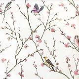 Vinilo autoadhesivo vintage floral pájaros muebles papel pintado autoadhesivo pared pared para paredes, estanterías, armarios, cajones, decoración, 45 cm x 5 m