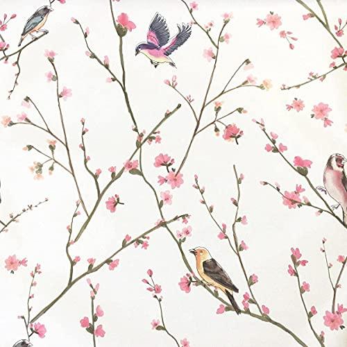 Papel Pintado Pared Flores y Pajaros Marca TAOGIFT